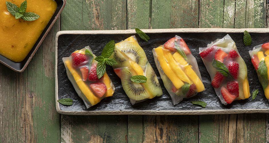 Rice paper rolls με φρούτα