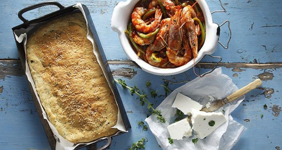 Baked Shrimp Saganaki and Focaccia - Fast!