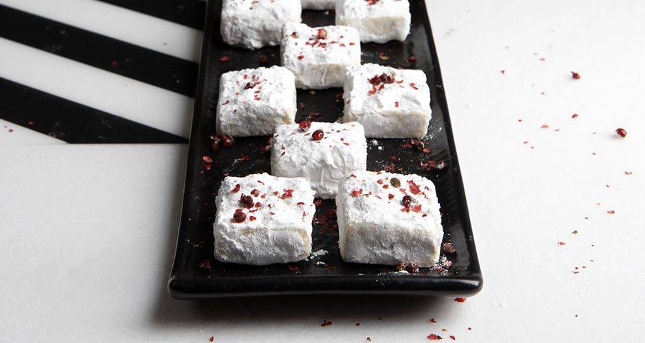White chocolate truffles with pink pepper