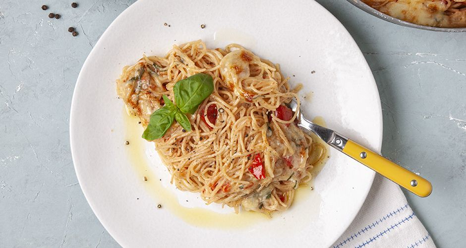 Recipe main spaghetti olikis me saltsa domatas