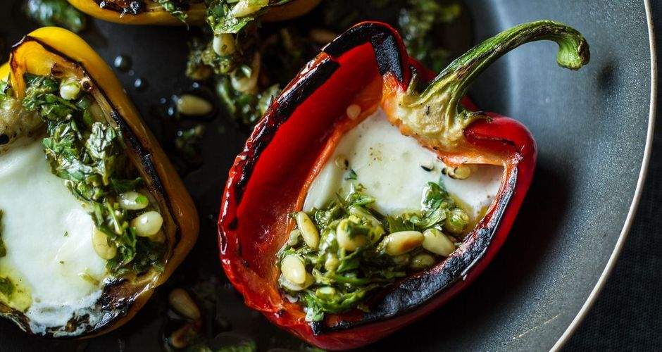 Roasted Peppers with Mozzarella Chili and Pine Nuts