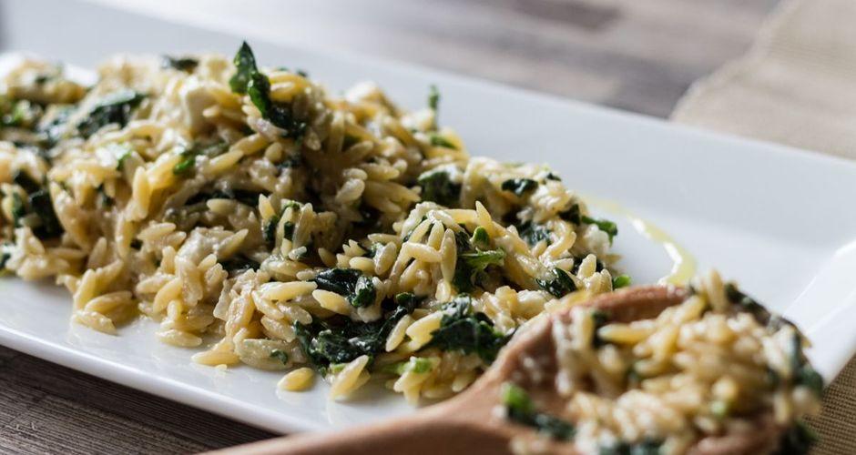 Spinach and feta creamy orzo