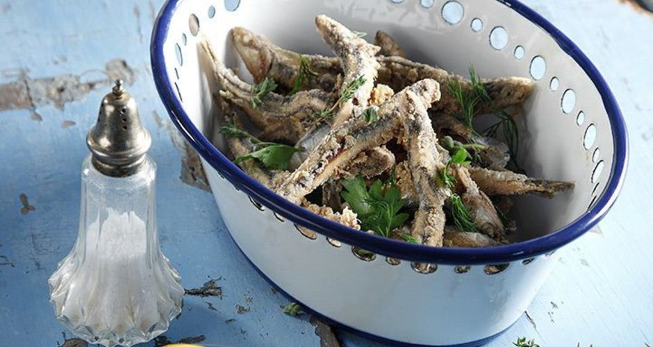 Greek Fried Herb Crusted Anchovies