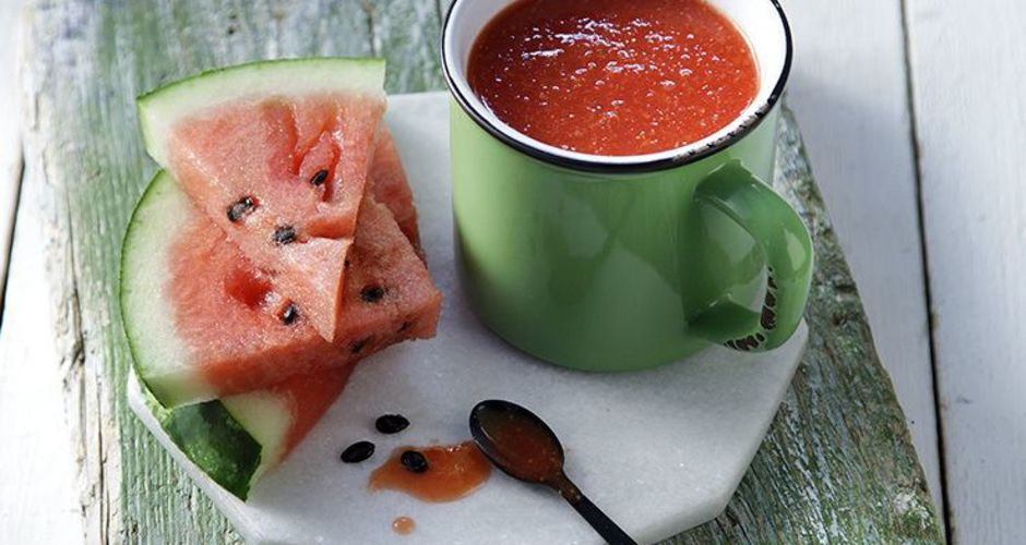 Watermelon strawberry and ginger smoothie