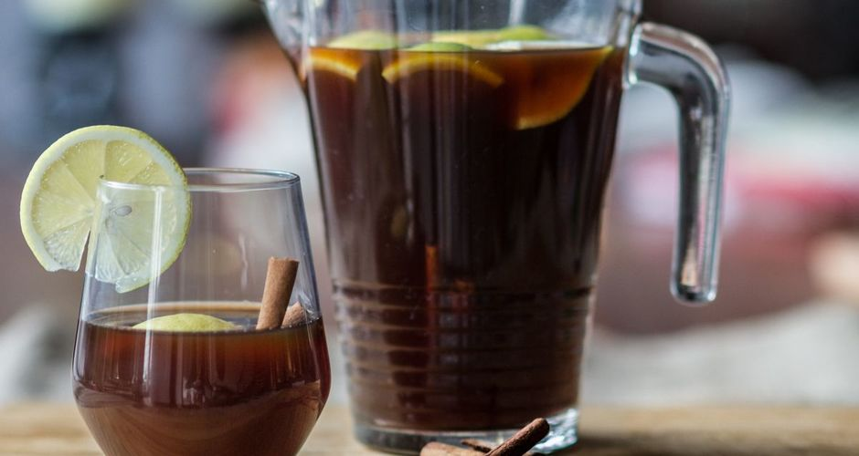 Mulled Spiced Drink with Sweet Wine and Black Beer
