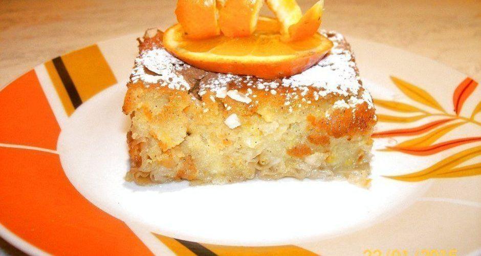 Πατσαβουρόπιτα σιροπιαστή, με κρέμα πορτοκάλι