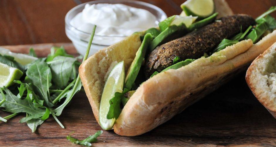 Bean patty ciabatta sandwiches