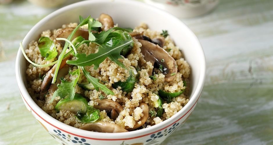 Quinoa with mushrooms and Brussel sprouts