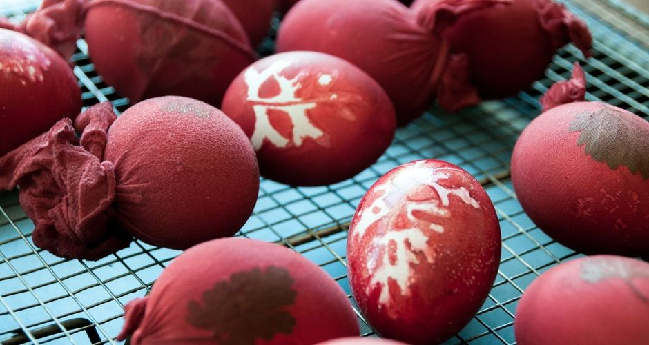 Dyed Easter eggs with patterns