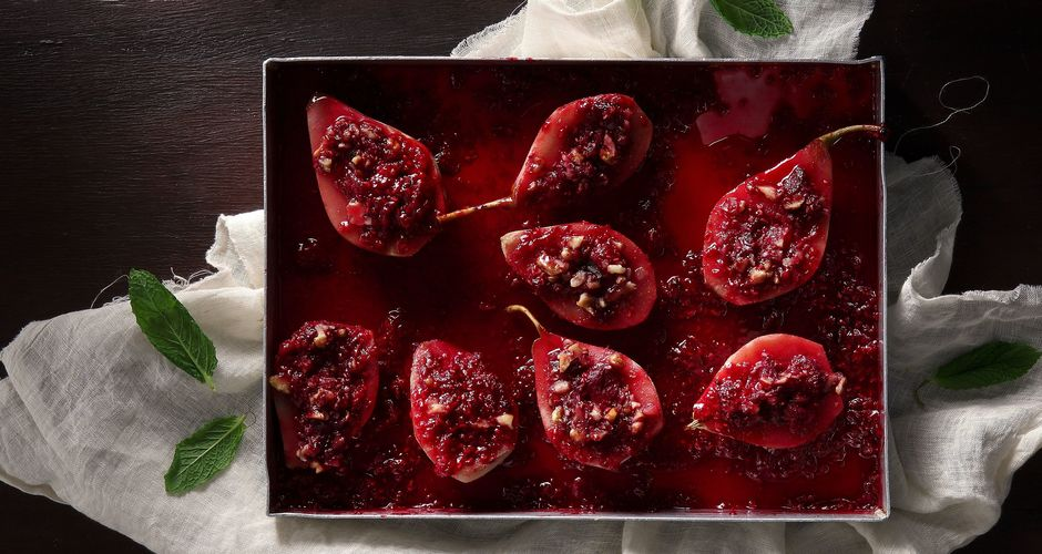 Roast Pears with Cranberries and Walnuts in a Honey-Wine Sauce
