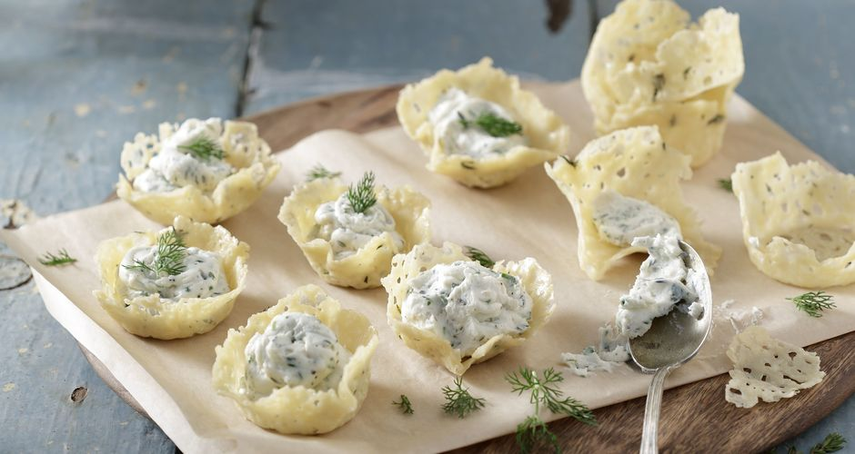 Parmesan Nests with Cheese Mousse Filling