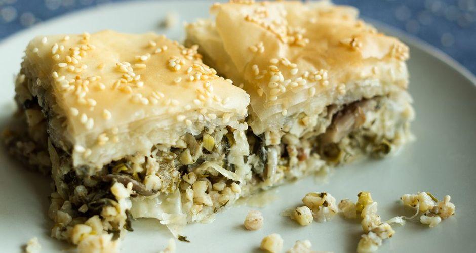 Spinach mushroom and bulgur phyllo pie