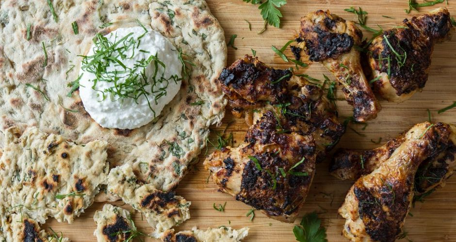Tandoori chicken with homemade pita bread