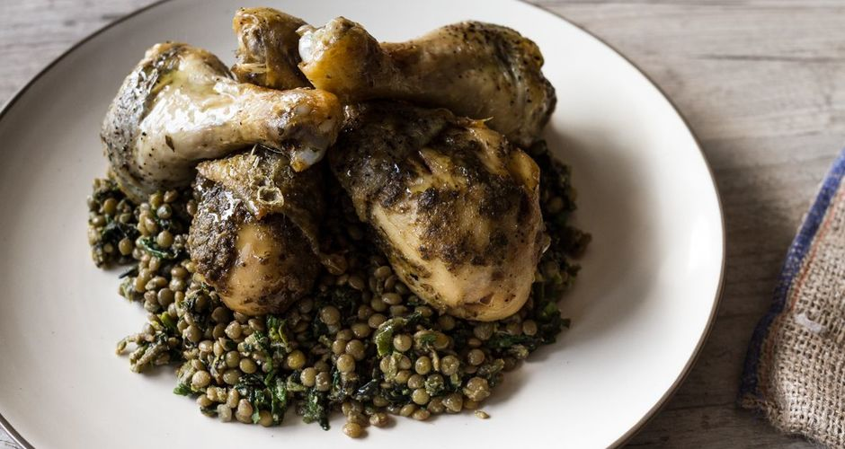 Drumsticks with a parmesan anchovy rub and lentil salad