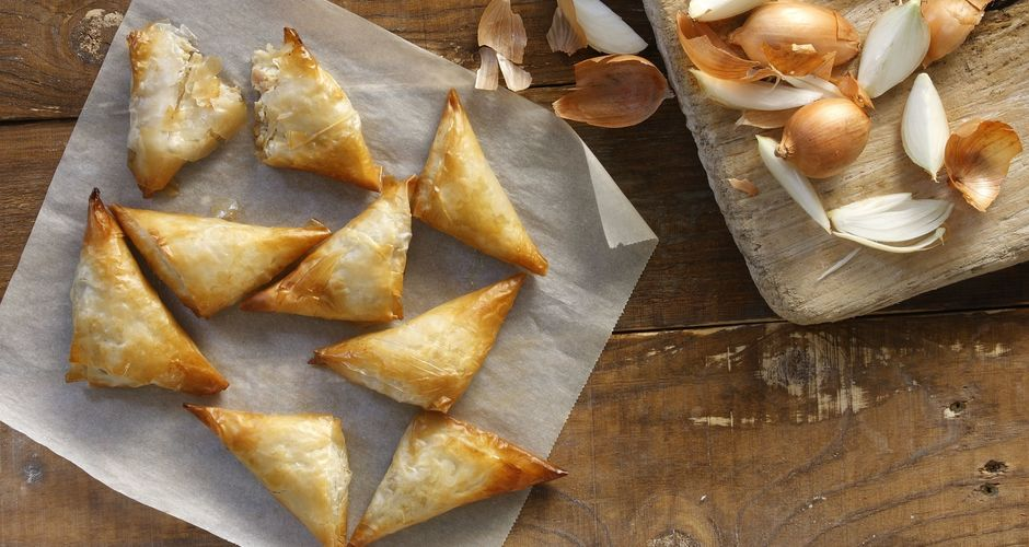 Greek goat Cheese and Caramelized Onion Turnovers - Tiropitakia