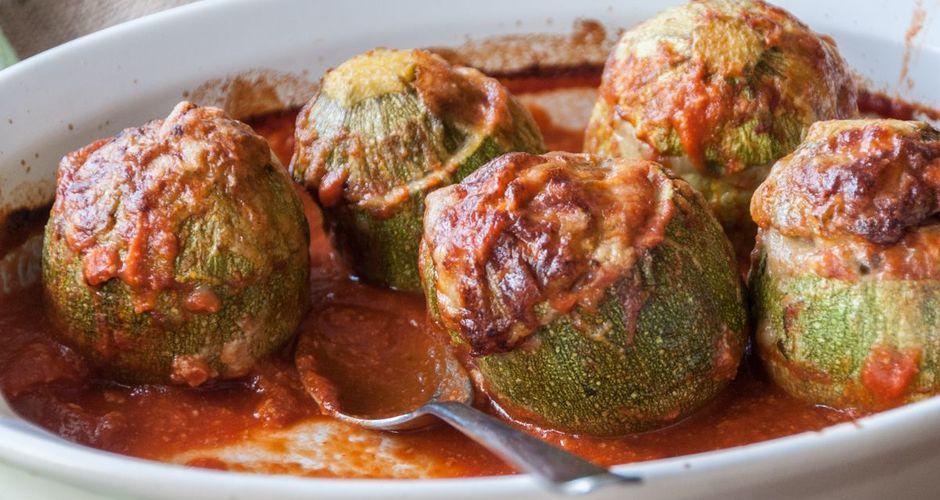 Greek baked stuffed zucchini
