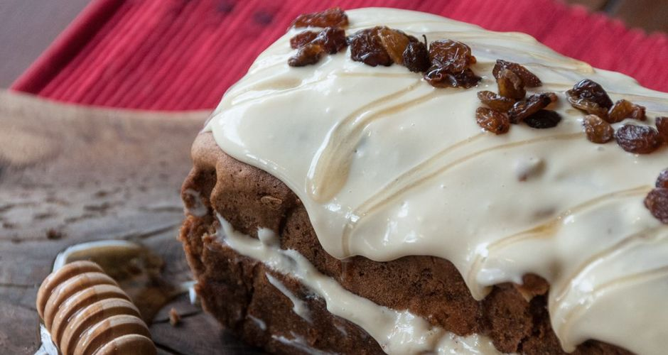 Olive Oil Apple Cake with Honey Frosting