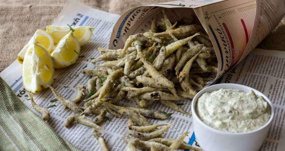 Greek fried smelt with tartar sauce