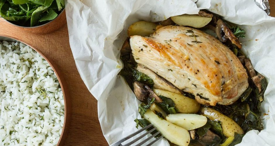 Turkey and mushrooms in parchment