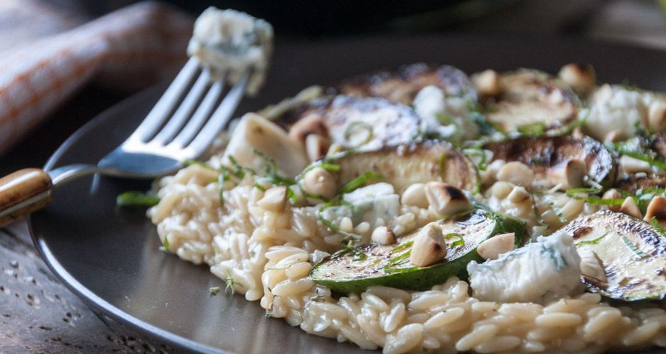 Orzo with Gorgonzola and Zucchini