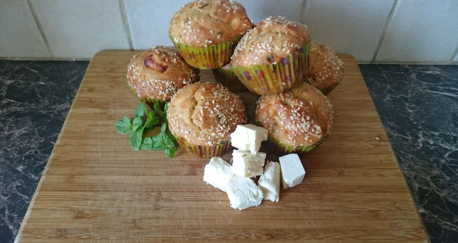 Muffins with halloumi cheese and mint