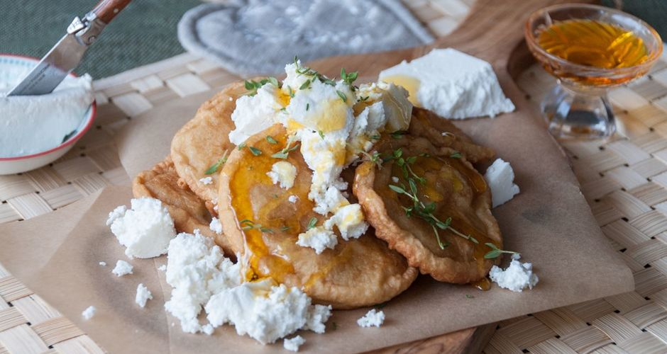 Sweet Fritters with Fresh Cheese and Honey