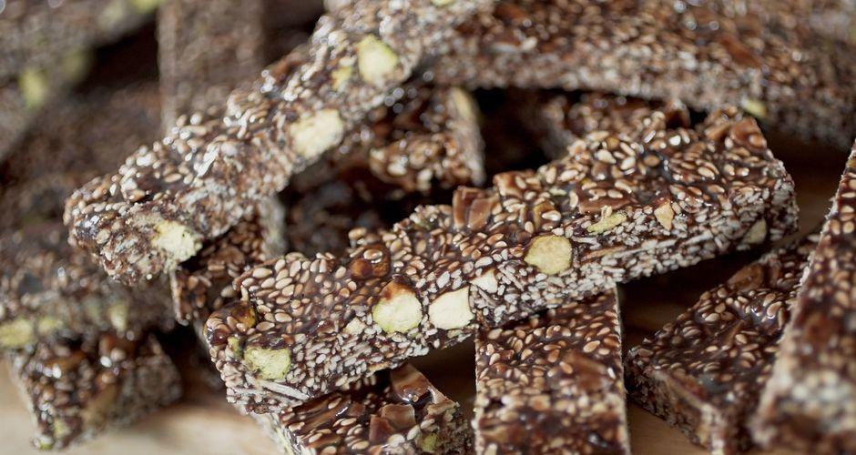 Greek Sesame Seed Bars with chocolate
