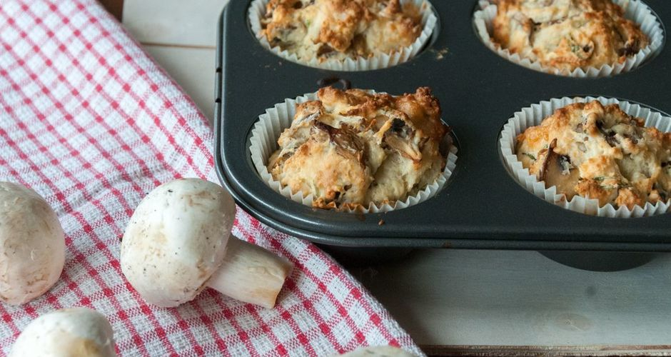 Muffins με μανιτάρια