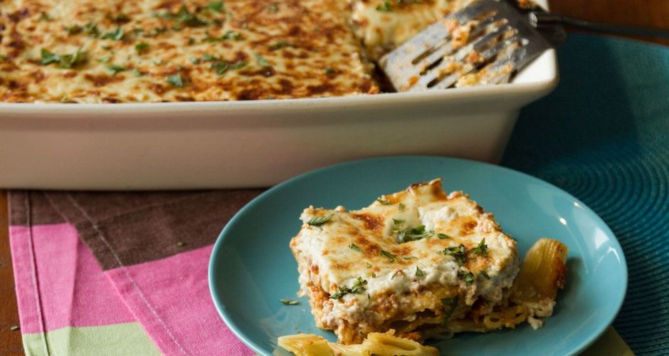 Greek pastitsio with a ragu sauce and blue cheese