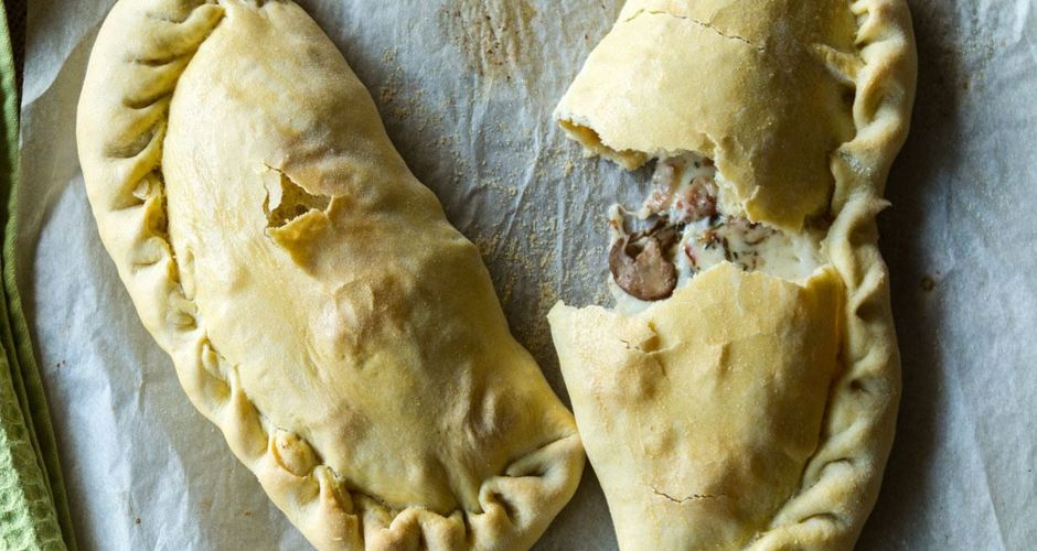 Bacon mushroom and cheese calzone
