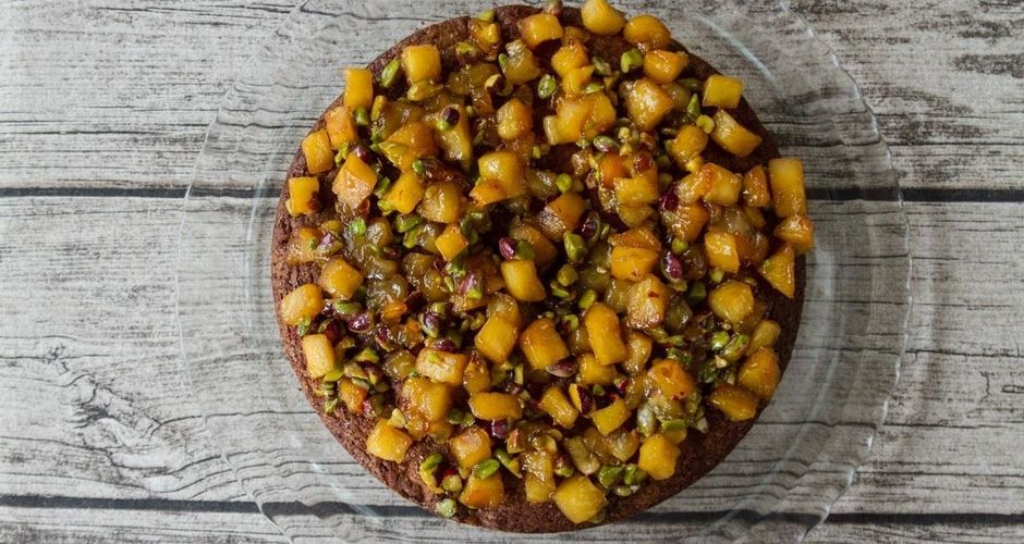 Apple Pistachio Nut Cake with Honey Apple Topping