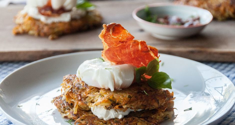 Sweet potato rosti with poached eggs