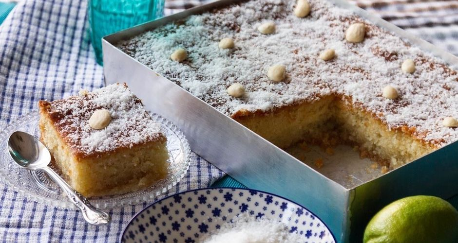Coconut Almond Cake in Syrup