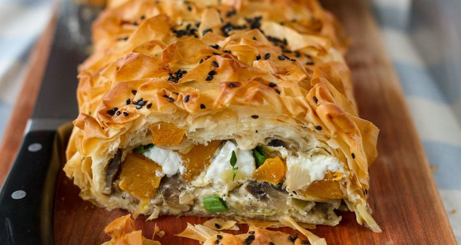 Savory Pumpkin and Feta Strudel