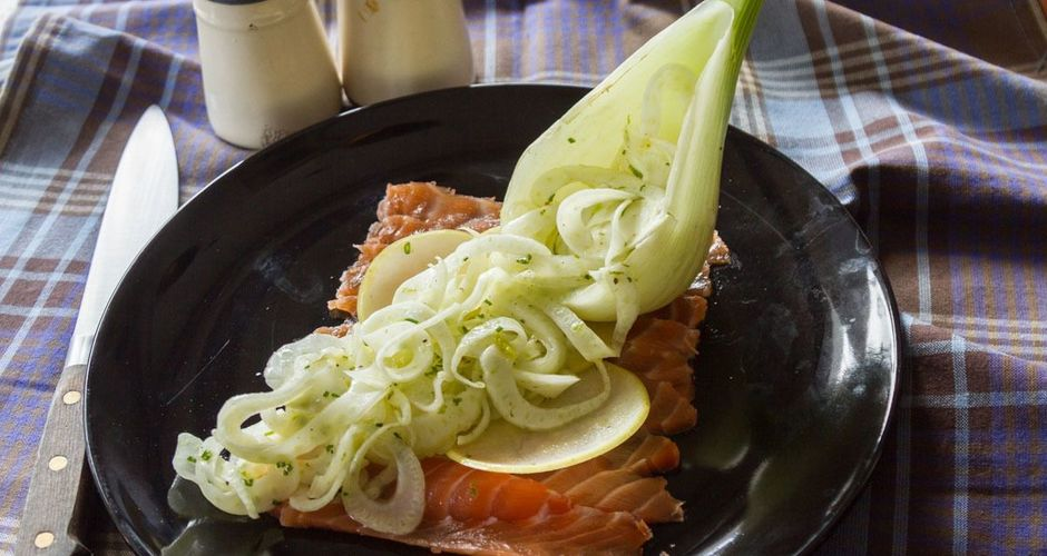 Salmon gravadlax with a Finocchio Salad