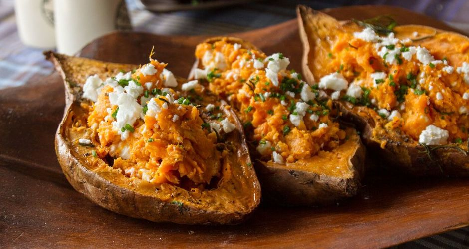 Feta Stuffed Sweet Potatoes