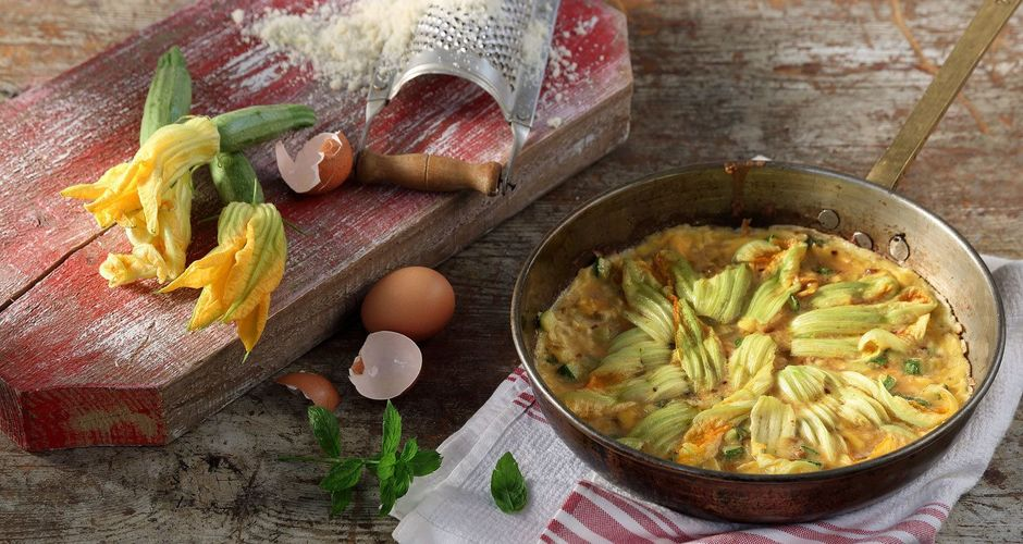 Courgette and Courgette Flower Frittata