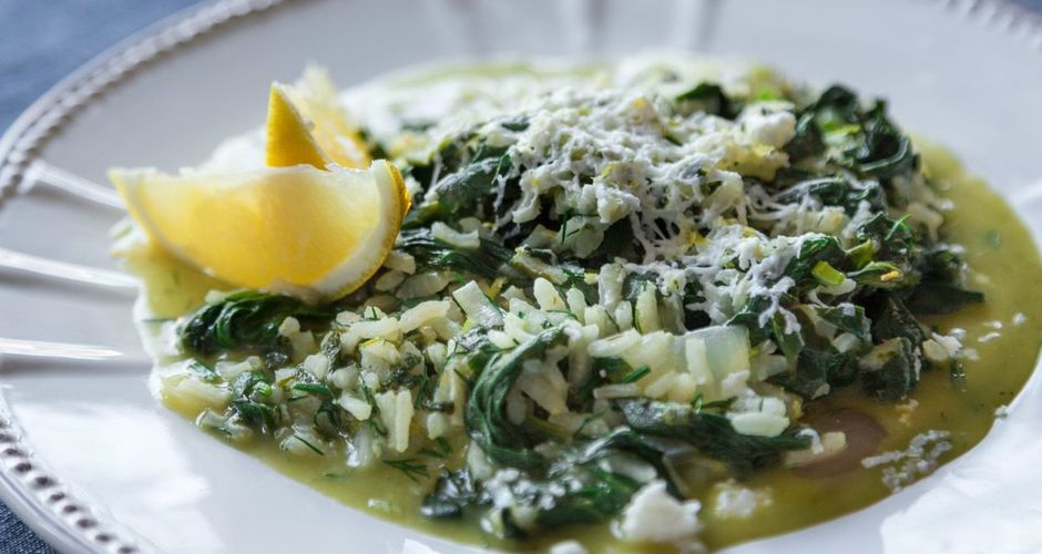 Greek spinach rice with eggs