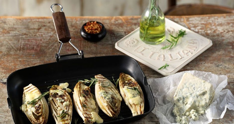 Roasted Endive with Gorgonzola and Rosemary Oil