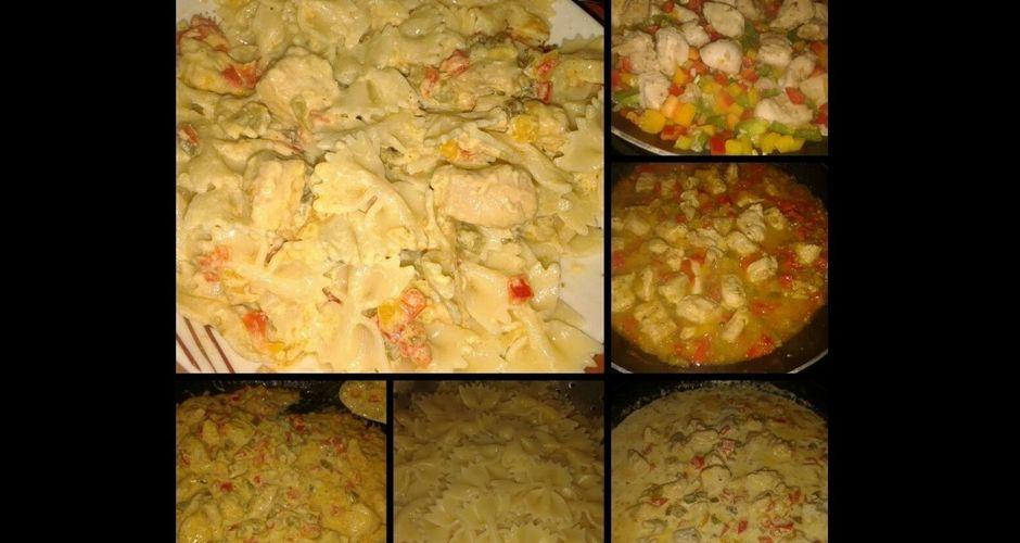 Χρωματιστά φιογκάκια αλα κρεμ με κοτόπουλο