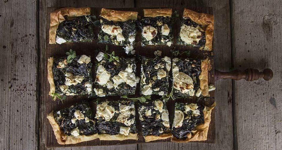 Greek open-faced spinach pie