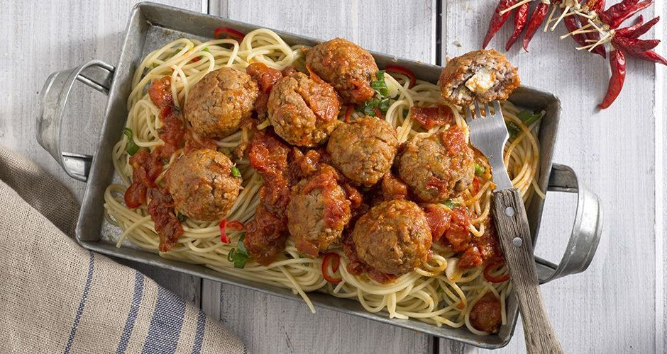 Greek Meatball Spaghetti