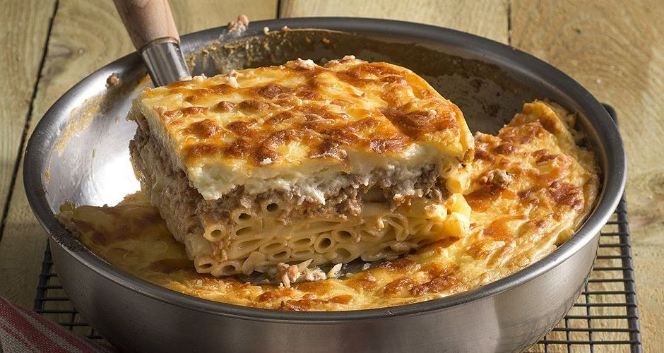 Greek pastitsio with ground turkey