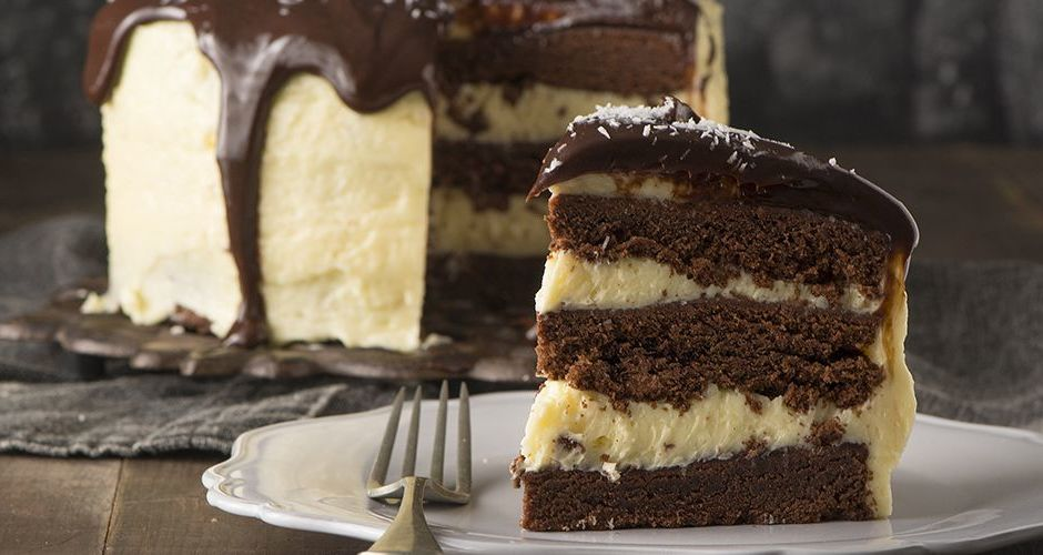 Triple layer chocolate cake with coconut mascarpone cream