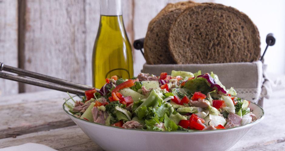 Tuna salad with guacamole salad dressing