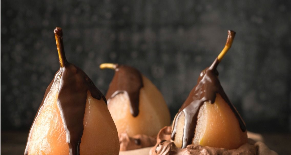 Meringue Nests with Chocolate Mousse and Poached Pears