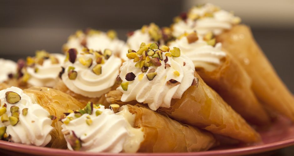 Cream Filled Phyllo Cones