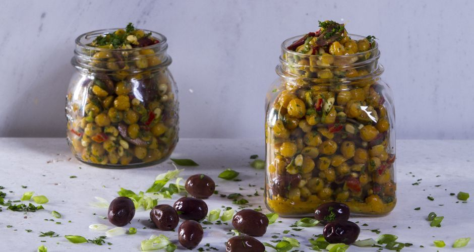 Cold Salad with Roasted Chickpeas and Pine Nuts