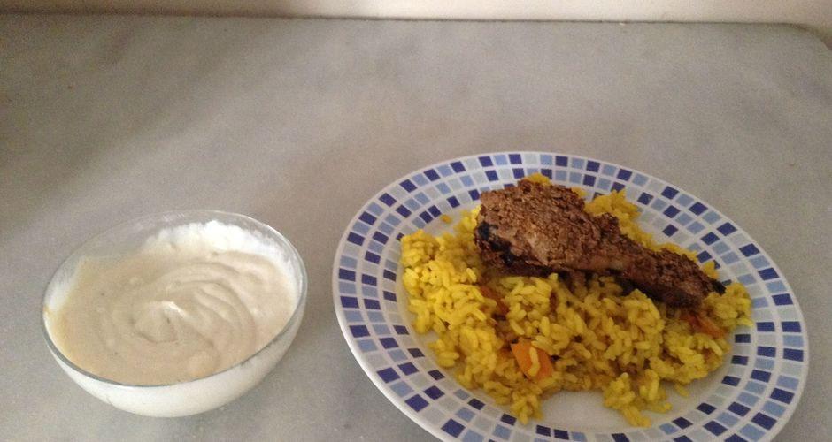 Ρύζι με κάρυ και κοτόπουλο πανέ