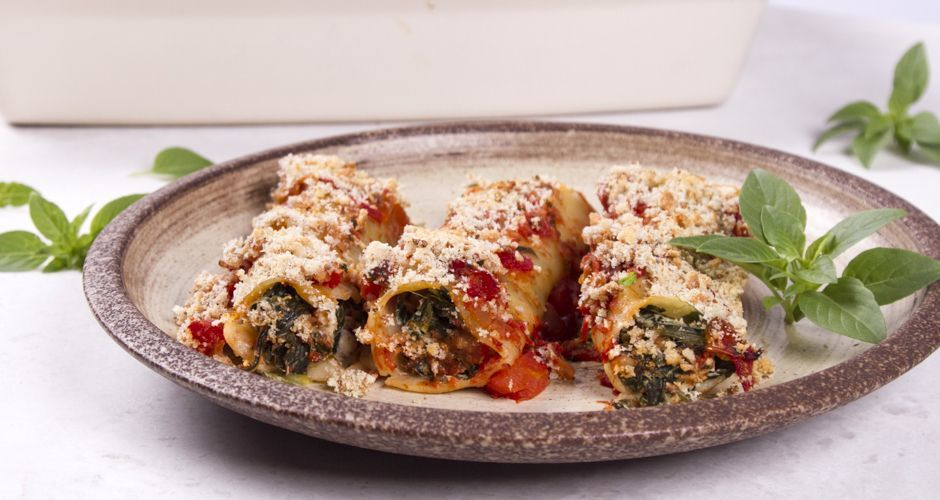 Tofu and Spinach Cannelloni